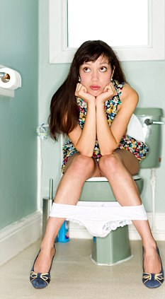 Girl sat on toilet