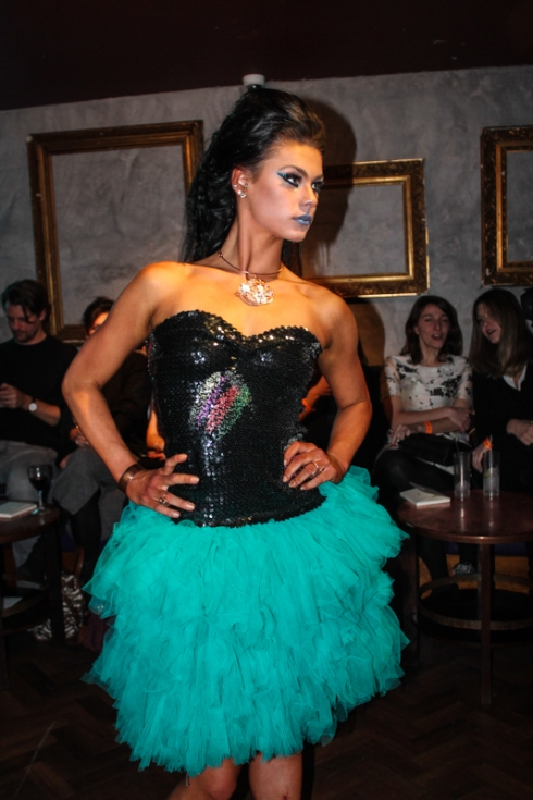 Model Nicole in sequins and ruffles . Courtesy of Jocelyn Rigby