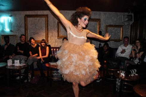 Model in fabulous flamingo frills . Courtesy of Deborah Tun